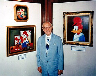 Walter Lantz - Lantz in 1990, with paintings of Woody Woodpecker