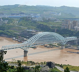 Yichang−Wanzhou Railway - The railway crosses the Yangtze River a second time near its western terminus, Wanzhou.  Pictured is the Wanzhou Railway Bridge.