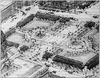 Civic Center Plaza - Original design concept sketch from A.L. Warswick, c. 1912
