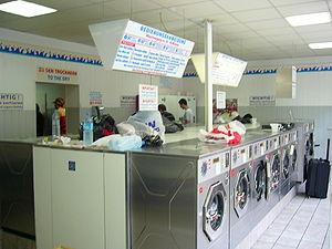 English: Laundromat in Munich, Germany Deutsch...