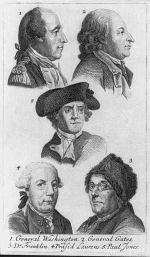 Henry Laurens - 1. General George Washington 2. General Horatio Gates 3. Dr. Benjamin Franklin 4. Henry Laurens, as President of the Continental Congress.  5. John Paul Jones / D. Berger sculpt. 1784