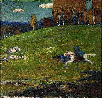 Wassily Kandinsky - Image: Wassily Kandinsky, 1903, The Blue Rider (Der Blaue Reiter), oil on canvas, 52.1 x 54.6 cm, Stiftung Sammlung E.G. Bührle, Zurich