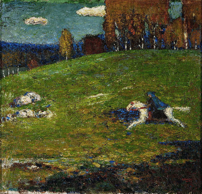 Painting of white horse and blue rider galloping across a green meadow from right to left