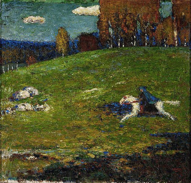 File:Wassily Kandinsky, 1903, The Blue Rider (Der Blaue Reiter), oil on canvas, 52.1 x 54.6 cm