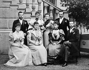 Princess Victoria of Hesse and by Rhine - Victoria (back row, second from right) at the marriage of her brother Ernest Louis (back row, right) to Princess Victoria Melita of Saxe-Coburg and Gotha (seated, second from right), 1894. Nicholas II of Russia and his fiancé Alix are on the back row left, Irene and Elisabeth are seated front row left, and Grand Duke Sergei Alexandrovich of Russia (Elisabeth's husband) is seated right.
