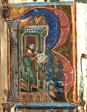 R - Late medieval illuminated initial