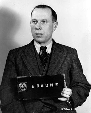 Werner Braune - Braune's mugshot for Nuremberg Military Tribunal, 1 March 1948.