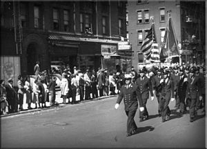 Vulcan Society - Chief Wesley Williams leads the Vulcan Society contingent thru Harlem during the annual African-American day parade