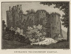 West View of Chepstow Castle: Entrance to Chepstow Castle