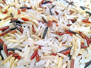 Rice - A mixture of brown, white, and red indica rice, also containing wild rice, Zizania species