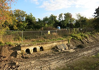 Wendover Arm Canal - The remains of Whitehouses pumping station following excavation in 2015