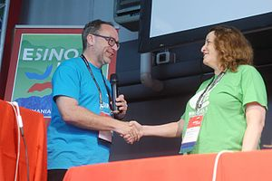Rosie Stephenson-Goodknight - Stephenson-Goodknight at Wikimania 2016 with Wikipedia co-founder Jimmy Wales