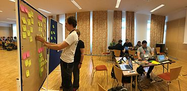 Wikimedia Hackathon 2017 - documentation sprint - working board panorama.jpg