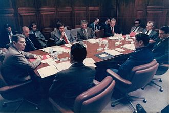 United States National Security Council - Ronald Reagan's National Security Council. Participants include George Shultz, William F. Martin, Cap Weinberger, Colin Powell and Howard Baker.