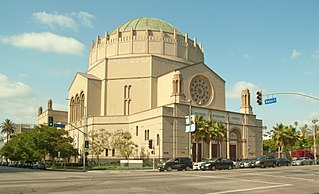 Wilshire Boulevard Temple Oldest Jewish congregation in Los Angeles, California with main building topped by a Byzantine revival dome.