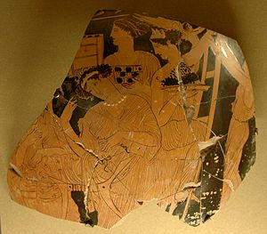 Adonia - Celebrating the Adonia: fragment of an Attic red-figure wedding vase, ca. 430-420 BCE