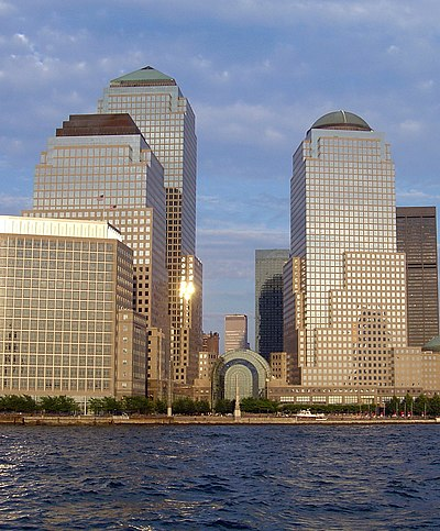 American Express Tower (tallest, left) in New York City World Financial Center.jpg