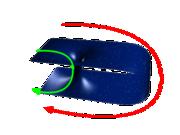 2D analogie k červí díře.