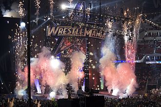 WrestleMania XXV - Pyrotechnics from the WrestleMania XXV entrance set, in front of an attendance of 72,744 fans