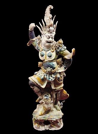 Tang dynasty tomb figures - Lokapala guardian figure