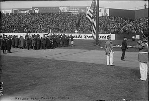 Yankee Stadium (1923) - The raising of the American flag on Opening Day in 1923