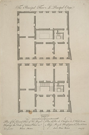Cumberland House - Plans of the ground and first floors of York (later Cumberland) House as designed by Matthew Brettingham.