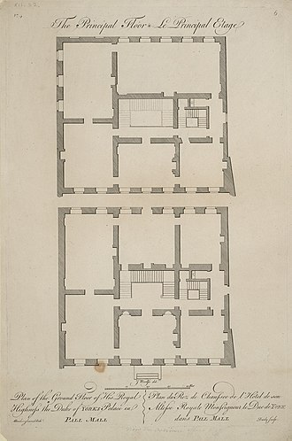 Matthew Brettingham - Plan of the ground and first floors of York House. Illustrating a circuit of rooms rather than an enfilade.