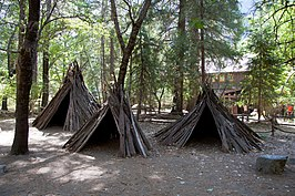 Traditionele Miwok-hutten in Yosemite Village