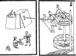 A two-page diagram illustrating a blast furnace. On the right page, a water wheel turned by a river moves a bellows to pump air into the box shaped blast furnace in the left page. Below the furnace, also in the left page, two men are handling the heated ore. One is holding a long cylindrical container while the other pours molten metal into the container with a large, elongated spoon.
