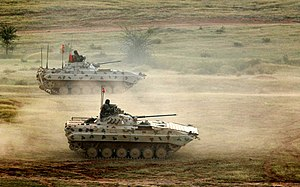 BMP-2 - Indian Army's upgraded BMP-2 Sarath during military exercise in Rajasthan, India.