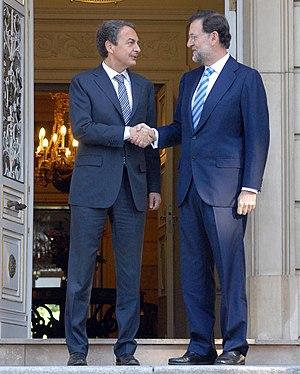 English: José Luis Rodríguez Zapatero and Mari...