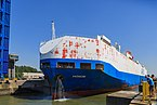 Zeebrugge Belgium Car-Carrier-HONOR-leaving-Pierre-Vandamme-Lock-01.jpg