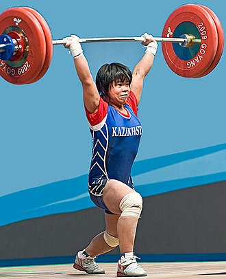 Clean and jerk - Zulfiya Chinshanlo, World Champion 2009 in the 53 kg class performing the jerk portion of the lift.