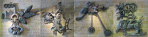 Naftali Bezem - From Holocaust to Rebirth, cast aluminum sculpture by Naftali Bezem, 1970, Yad Vashem, Jerusalem, Israel.  From left to right the four parts art titled The Destruction, Resistance, Immigration to Israel and Rebirth.