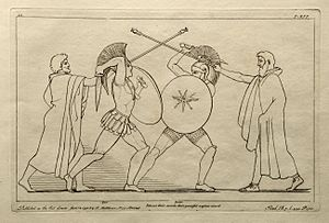 Ajax the Great - Ajax battling Hektor. Engraving by John Flaxman, 1795.