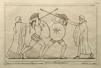 Ajax the Great - Ajax battling Hektor, engraving by John Flaxman, 1795