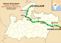 (Gwalior - Ambikapur) Express (via Guna and Katni) route map.png