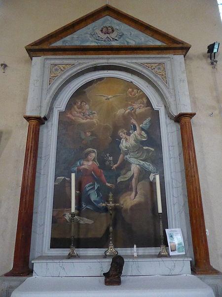 Tableau de l'Annonciation dans l'église Saint-Éloi-Saint-Jean-Baptiste de Crécy-Couvé, en Eure-et-Loir.