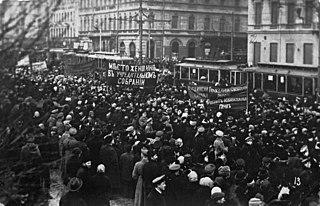 Митинг в Петрограде с требованиями предоставить женщинам право быть избранными, февраль 1917