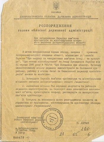 Розпорядження голови Дніпропетровської ОДА від 12 квітня 1996 року № 158-р