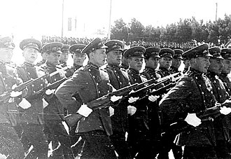 Azerbaijani Armed Forces - A Guard of Honor during a parade in Baku in 1966.
