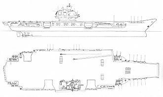 Soviet aircraft carrier Ulyanovsk - United States Department of Defense artwork of a Soviet nuclear-powered aircraft carrier similar to Ulyanovsk, under construction.