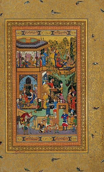 The infant Akbar presents a painting to his father Humayun. 'Abd al-Samad. Akbar Presents a Painting to His Father Humayun. Mughal, probably Kabul, c. 1550-1556. Golestan Palace Library, Tehran.jpg