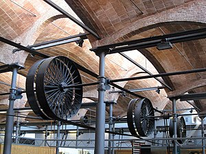 MNACTEC - The weaving shed columns with the roof and line-shafting.
