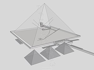 Great Pyramid of Giza - Transparent view of Khufu's pyramid from SE. Taken from a 3d model