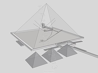Great Pyramid of Giza - Transparent view of Khufu's pyramid from SE
