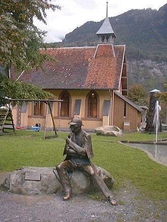 The Final Problem - Statue of Holmes outside the English Church, Meiringen