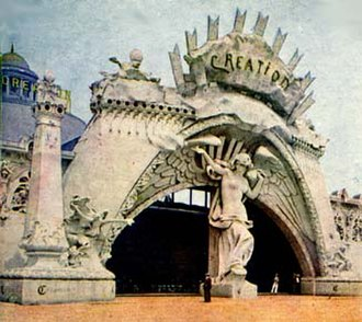 Staff (building material) - A staff facade from the 1904 World's Fair, the entrance to an entertainment concession on The Pike.