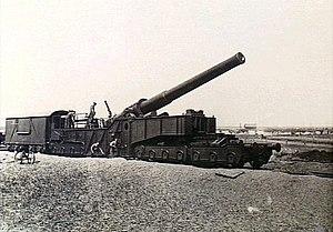 BL 12-inch railway gun - 12 inch Mk IX W railway gun on Armstrong Mk II mounting, Méaulte, France 1916