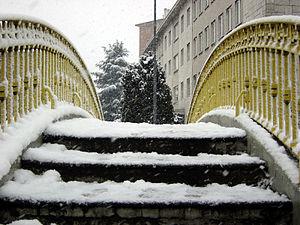 "Snow in Milan, Italy: brige across the ""N..."